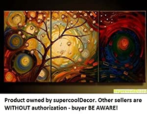 Modern Oil Painting on Canvas Stretched-framed - Abstract - ytg0032 - Return shipping covered for continental US regions