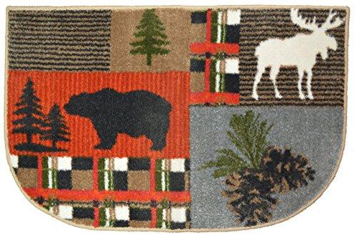 Wholesale Rug Source Bear Moose Nonskid (Non Slip) Cute Lodge Pinecone Kitchen Mat Rug, 19