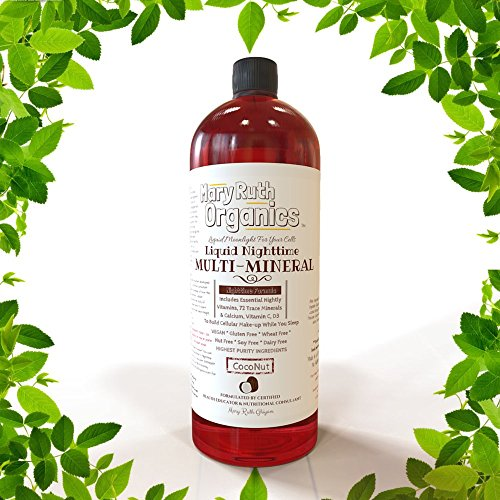 ORGANIC LIQUID NIGHTTIME MULTIMINERAL by MARYRUTH (Coconut) Highest Purity Organic Ingredients, Vitamins, Minerals, Magnesium & MSM builds essential tissue while providing for a deeper sleep. VEGAN GLUTEN FREE & Never Sugar Added!