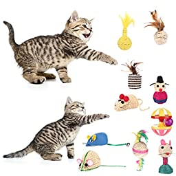 [10 pack] Cat Toys , Zaneeta Natural Feather and Sisal Rope Cat Mice Toys