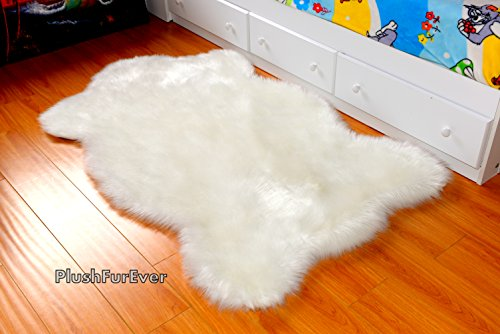 White Sheepskin Chubby Shapes Nursery Area Rug Faux Fur Single Pelts (3' x 5' feet)