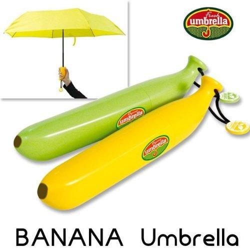 可愛い バナナ 傘 折りたたみ傘 晴雨兼用 直径88cm カバー付き緑とイエロー