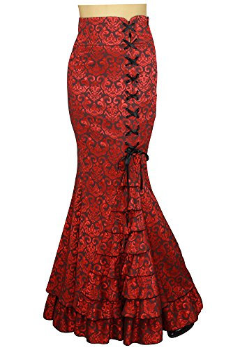Shimmery-Night-in-London-Jacquard-Fishtail-Victorian-Vintage-Style-Red-Skirt