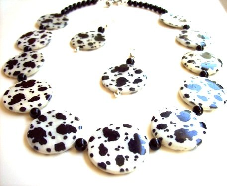 Animal Print Mother of Pearl Necklace, 20