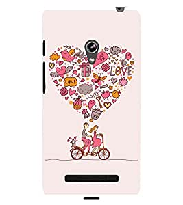 printtech Love Couple Cycle Cute Back Case Cover for Asus Zenfone 5::Asus Zenfone 5 A500CG