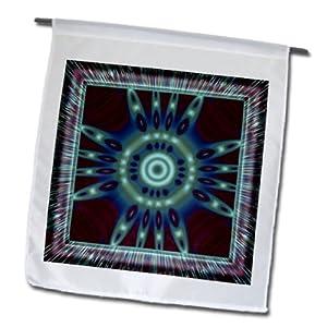 3dRose fl_42573_1 Mandala 27 Zen Inner Balance Harmony Red/Blue/Turquoise Meditation Garden Flag, 12 by 18-Inch