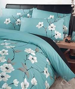 Just Contempo Double Duvet Cover Poly Cotton ORIENTAL FLORAL DUVET COVER SET Luxury Poly Cotton Bedding Bed Quilt Cover Sets, Turquoise