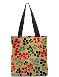 Snoogg Seamless Pattern With Leaf Designer Poly Canvas Tote Bag