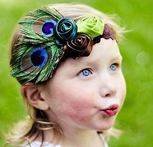 Suppion Toddler Rose Flower Peacock Baby Hairband