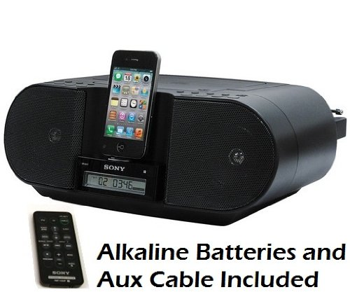 Sony iPod & iPhone Docking Station CD Player and Digital AM FM Radio Stereo Speaker System with 30 Station Presets, Wireless Remote Control, Flexible Dock Connector, Sleep Timer, Portable Battery Option (Batteries Included) & Auxiliary Input with AUX Cable to Connect Tape Cassette or MP3 Digital Music Players