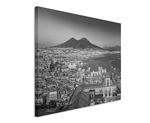 50x70cm Leinwandbild schwarz weiß in Topqualität Stadt Napoli (Neapel) Sonnenuntergang