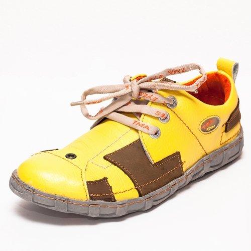 TMA EYES 2618 Schnürer Gr.36-42 mit bequemen perforiertem Fußbett 100% Leder 39.35 super leichter Schuh der neuen Saison. ATMUNGSAKTIV in Gelb Gr.36