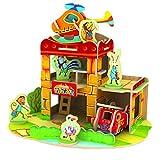 Happy Cherry Puzzle 3D Madera DIY Modelo Creativo Juego Juguete Educativo (36 Piezas) para Niño Niña - Parque de Bomberos