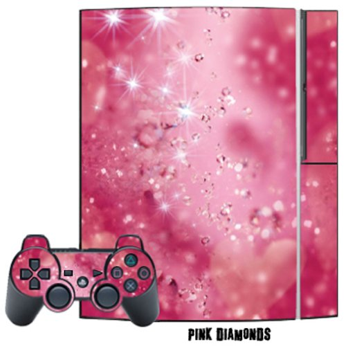 Mightyskins Protective Skin Decal Cover Sticker for Playstation 3 Console + two PS3 Controllers - Pink Diamonds