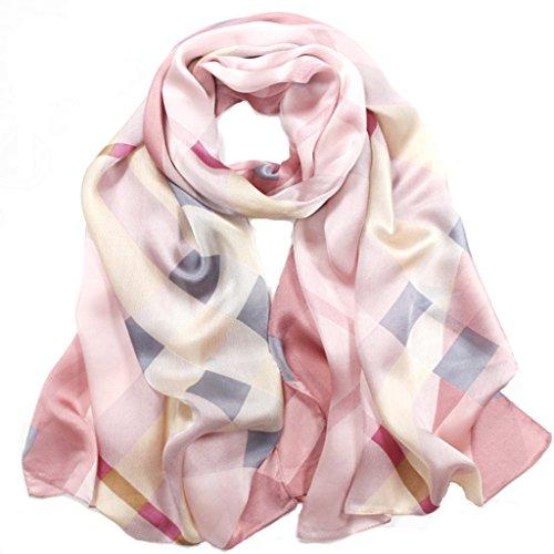 Helan-Womens-Real-Natural-Silk-175-X-65-cm-Long-Scarves-Pink-Plaid