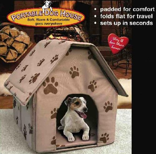 Portable Dog House, (Color random among in Tan, Blue and Red)