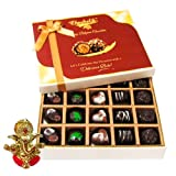 Chocholik Belgium Chocolates - Beautiful 20 Pc Mix Assorted Chocolate Box With Ganesha Idol - Diwali Gifts