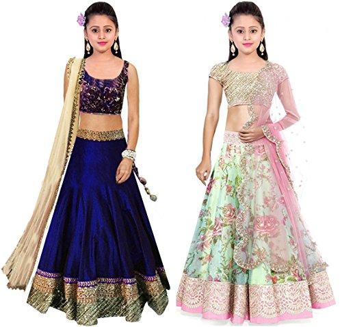 Clickedia Kids Wear Girls Net Combo Set of 2 Lehenga Choli/ Chaniya Choli for Navratri and Festive – traditional wear ( 8-12 yrs)