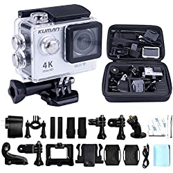 "Kuman 4K WIFI Sports Action Camera impermeabile 1080P HD 12MP Kit 2.0"" LCD 170 Degree Wide Angle Waterproof Cam DV Camcorder Outdoor for Bicycle Motorcycle Diving Swimming Sliver with Free Accessories Kit MH21"
