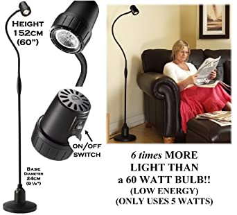 Serious Readers Alex Floor Light ~ LOW ENERGY LED BULB - with BLACK arm color and Black Handle ~ provides 6 times more light on the page compared with a 60 watt filament bulb ~ Specialised reading light with focused beam - Latest Version - Energy Efficient: 360 watts output but uses only FIVE watts of power - Position of ON/OFF switches: Back of Lamp Head and in Flex - Made in Great Britain - this is the 115 Volts U.S.A. version fitted with American standard flat bladed plug - Delivered Ready Assembled - *** Returns not Possible ***
