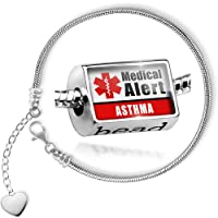 Charm Set Medical Alert Red Asthma - Bead comes with Bracelet , Neonblond by NEONBLOND