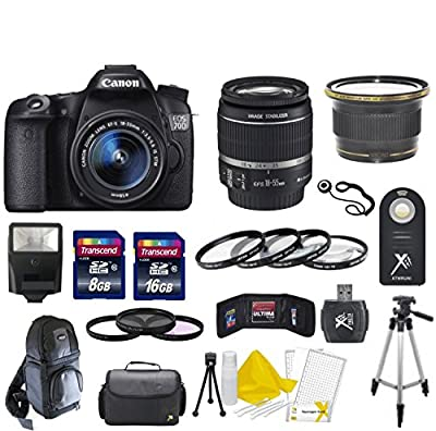 Canon EOS 70D 20.2 MP Digital SLR Camera with Dual Pixel CMOS AF Digital SLR Body with EF-S 18-55mm IS STM Lens With 58mm High Definition Wide Angle Lens + Macro Close-Up Set + Auto Slave Flash + Filter Kit with 24GB Deluxe Accessory Bundle