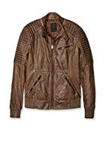 Guess Chaqueta Ribbed Biker (Marrón)