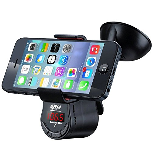 FM Transmitter With Phone Holder, RyuGo Car Radio Stereo FM Adapter Car MP3 Player With Suction Cup Holder and Car Charger