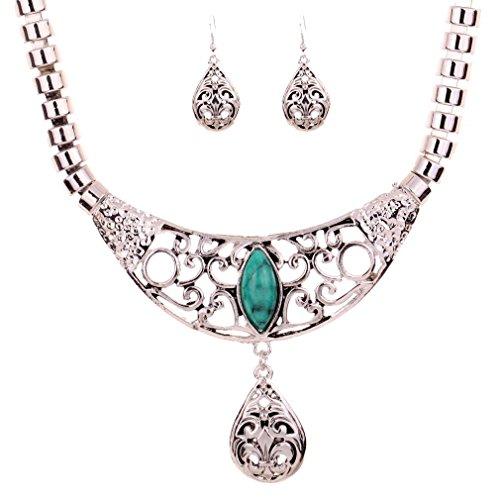 Yazilind Schmuck-Set, Silber-Look, Collier (47,5 cm) Ohrringe, Hohldesign, Anhänger in Tropfenform, Türkis