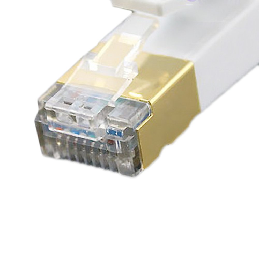 Vandesail® - Cable de red Gigabit Ethernet con conectores CAT.7 (RJ45) | Profesional Oro Headed | STP | De alta velocidad de la computadora Router | Clavija chapada en oro | Alta velocidad superior de la calidad | CAT.5 / CAT.5e / CAT.7 | negro/router/módem/panel de conexiones/punto de acceso/Conmutador (5m 16ft Blanco Oblato)  Informática Comentarios de clientes