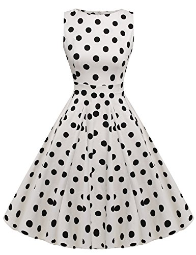 ACEVOG Women 1950s Vintage Retro Sleeveless Party Swing Cocktail Dress