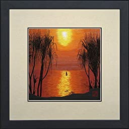 King Silk Art 100% Handmade Embroidery Beautiful Sunset Chinese Print Framed Landscape Painting Gift Oriental Asian Wall Art Decor Artwork Hanging Picture Gallery 37211WF