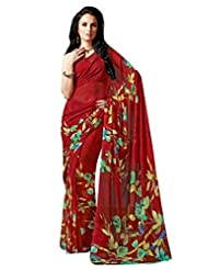Red Color Georgette Printed Saree With Blouse 7042