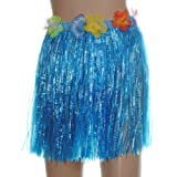 Hawaiian Stretch Hula Grass Skirt Flower Garlands Party Dress LUAU Beach Tropical Costume 16