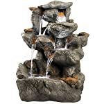 """33"""" Granite Rock Waterfall Fountain: Outdoor Water Feature for Gardens & Patios. Features Stunning LED Light Accents."""