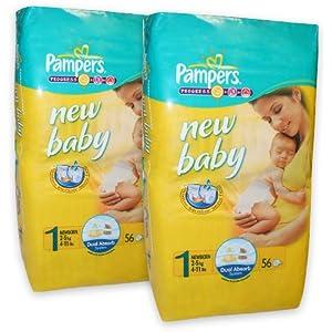 112 Pampers Windeln, New Baby, New Born, Gr.1, 2-5 kg, mit Urin-Indikator (2x56)