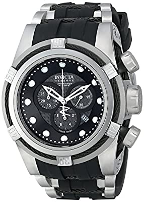 Invicta Men's 12665 Bolt Chronograph Black Carbon Fiber Dial Black Polyurethane Watch