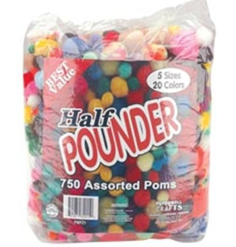 Pepperell Crafts - HALF/DEMI POUNDER - Assorted Poms
