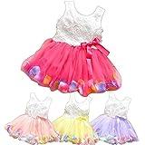 ひらひら ベビー キッズ 子供用 ワンピース ドレス 4色から選べます 90 センチ ローズレッド