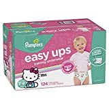 Pampers Easy Ups Training Pants Pull On Disposable Diapers for Girls, Size 5 (3T-4T), 124 Count, ONE MONTH SUPPLY