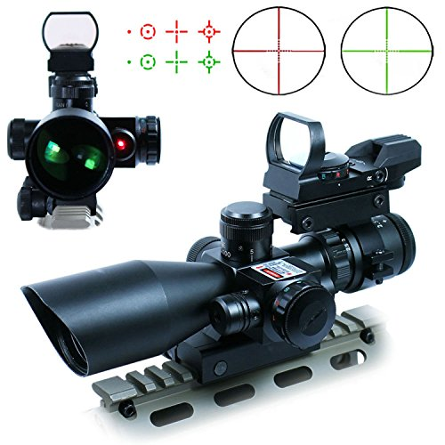 Vokul® 3 in 1 2.5-10×40 Tactical Rifle Scope Dual illuminated Mil-dot with Red Laser w/ Rail Mount +Tactical 4 Reticle Red and Green Dot Open Reflex Sight with Weaver-Picatinny Rail Mount for 11 mm Rails+Scope Barrel Mount