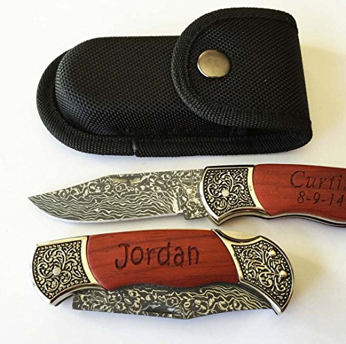Personalized Custom Engraved Pocket Knife Rosewood Handle Groomsmen, Father's day Gift free Pouch