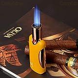 New Cohiba Black Gun Metal 4 Torch Jet Flame Cigarette Cigar Lighter Gift Box (Yellow) (Color: Yellow)