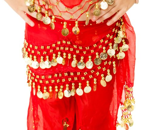 Child Kid's Girl's Belly Dance Hip Scarf Belt- Chiffon Red