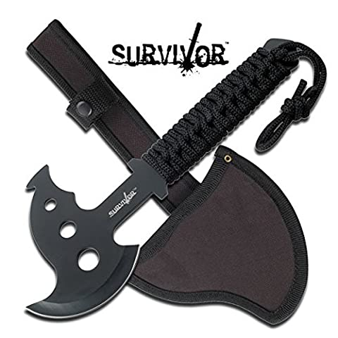Battle Axe Tomahawk Solid One-Piece Stainless Steel Midnight Black Finish - Double Sided Battle Axe
