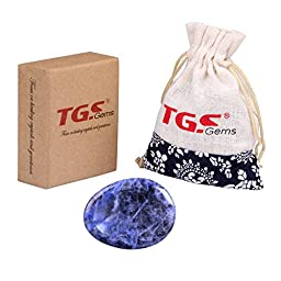 TGS Gems® Sodalite Carved Thumb Irish Worry Stone Healing Crystal Free Pouch