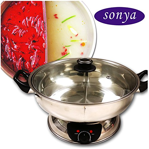 Great Features Of Sonya Shabu Shabu Hot Pot Electric Mongolian Hot Pot W/DIVIDER