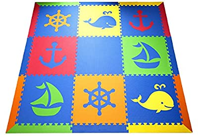 "SoftTiles Nautical Ocean Theme Premium Interlocking Foam Large Children's Playmat 78""x78"""