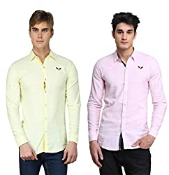 BRAVEZI Men's Yellow & Pink Solid Casual Slim Fit Shirt
