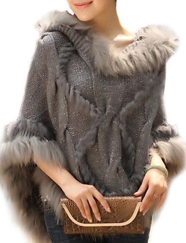 Le donne alla moda vero autentico Raccoon Fur Cape,Beige,One-Size